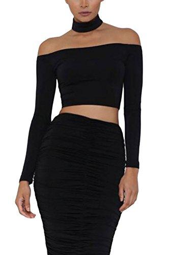 Astylish Womens Long Sleeve Crop Top Basic Choker Off Shoulder Blouse Large Black