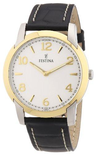 Festina F16508/2 - Reloj analógico de cuarzo para hombre con correa de piel, color negro