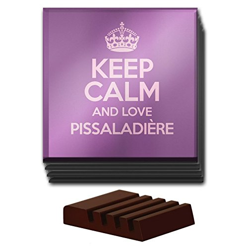 Violet LOT de 4 sous-verres Keep Calm and Love pissaladière en verre couleur 2816