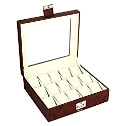 Richpiks Leather Watch Case for 15 Watches