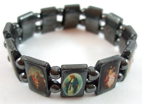 Saint Icons Hematite Bracelet Rosary,jesus, Ann Rita, Mary