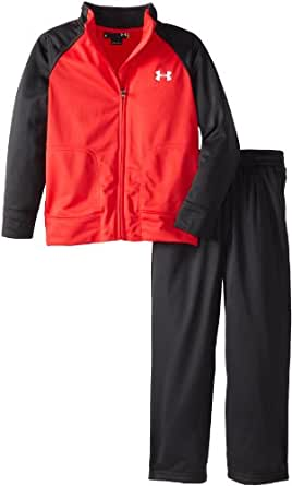 Under Armour Little Boys' Track Set Red, Red/Black, 4