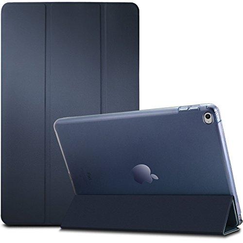 Apple iPad Air 2 Étui Housse Case- Infiland PU cuir Etui En Cuir Végétale Fin De Haute Qualité stand Smart Shell Case Pour La Tablette Apple iPad Air 2 (avec fonction Auto réveil / sommeil),Bleu Marine
