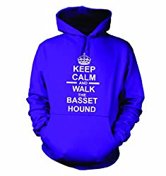 Keep Calm And Walk The Basset Hound Hooded Sweatshirt Hoody In Purple