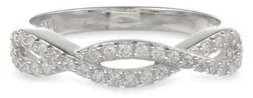 Sterling Silver Cubic Zirconia Twisted Ring, Size 7