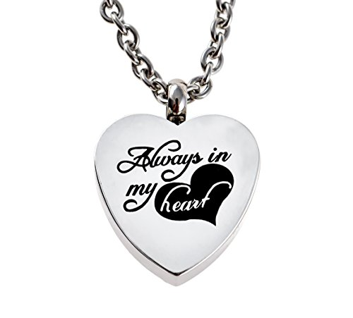 Always in My Heart Urn Necklace Pendant With Funnel Kit Cremation Ashes (Heart Pendant) (Urns Ashes Lockets compare prices)