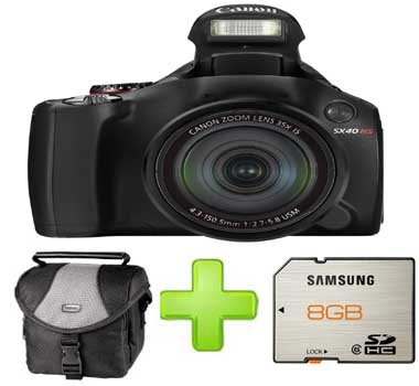 Canon PowerShot SX40 HS + 8GB Memory + Case (12.1MP, Super Wide Angle, 35x Optical Zoom) 2.7 inch Vari-Angle LCD