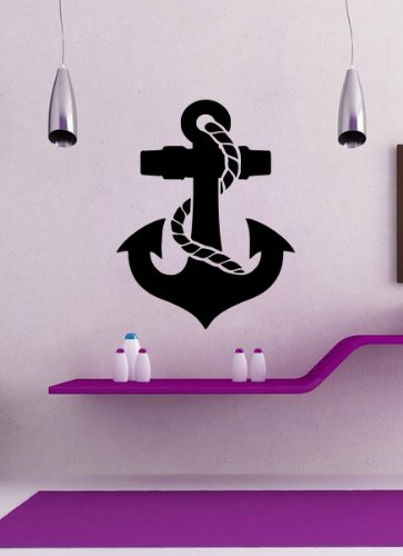 Housewares Vinyl Decal Anchor Nautical Theme Home Wall Art Decor Removable Stylish Sticker Mural Unique Design For Room front-1015521