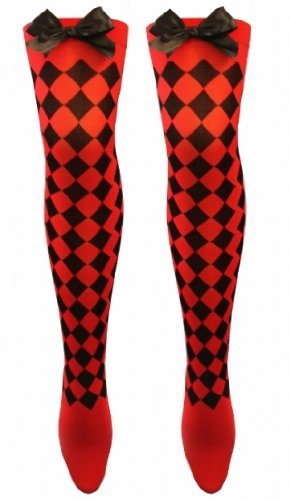 LADIES NEW RED AND BLACK DIAMOND CHECK OVER THE KNEE HOLD UP STOCKINGS WITH BLACK BOW