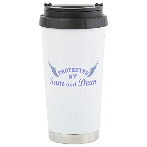 CafePress - SUPERNATURAL Sam and Dean blue Stainless Steel Tra - Stainless Steel Travel Mug, Insulated 16 oz. Coffee Tumbler (Dean Winchester Blue Steel compare prices)