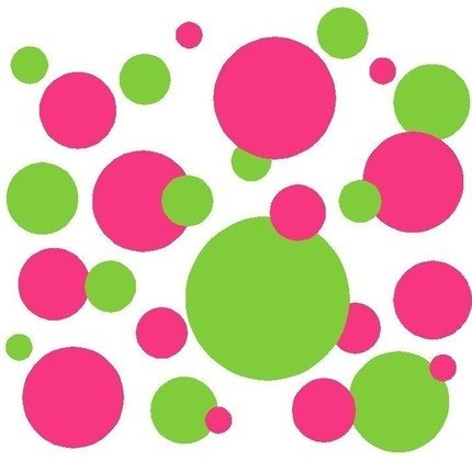 Set of 130 Dark Pink and Lime Green Polka Dots Wall Graphic Vinyl Lettering Mural Decal Stickers Kit Peel and Stick Appliques