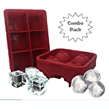 Combo Large Square & Round Ice Cube Mold Silicone Tray Jumbo Giant Square and Sphere for Ice Ball
