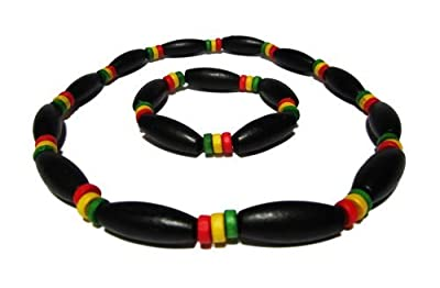 Rasta Beaded Necklace and Bracelet Set - Wooden Beads - Jamaican Necklace and Bracelet Set