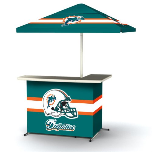 Nfl Miami Dolphins Portable Wheeled Bag Travel L-Shape Umbrella Basic Bar