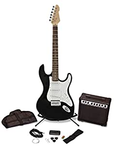 pitchmaster black electric guitar package amplifier kit with tuner strings stand protective. Black Bedroom Furniture Sets. Home Design Ideas