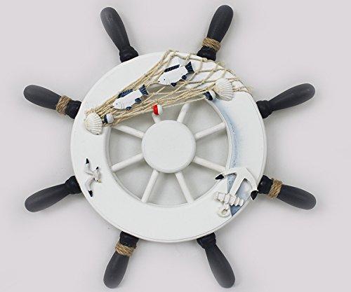 Deko-Steuerrad-Schiff-Holz-Fischernetz-Muscheln-Fische-Maritime-Deko-33cm