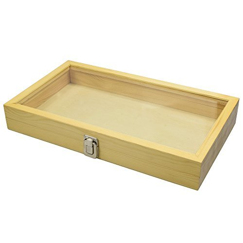 Mooca Large Natural Wood TEMPERED Glass Top Lid Metal Clip Jewelry Display Case, 15