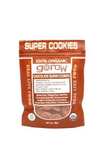 Go Raw Freeland Super Cookies, Chocolate, 3.0-Ounce Bags (Pack of 6)