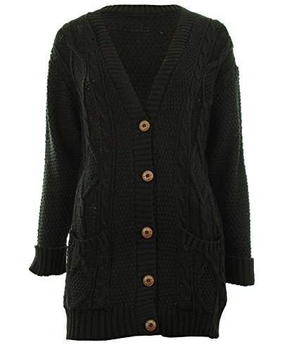 Haven New Womens Nep/Pure Yarn Cable Knit Boyfriend Button Front Ladies Cardigan