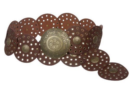 "3 1/2"" (90 mm) Wide Ladies Wide Boho Disc Concho Leather Belt Size: XL - 48 Color: Tan"