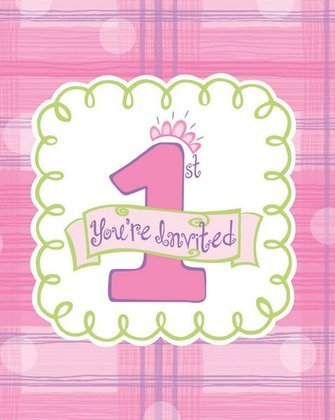 Celebrate 1 Girl First Birthday Party Invitations w/ Glitter 8 per Pack - 1