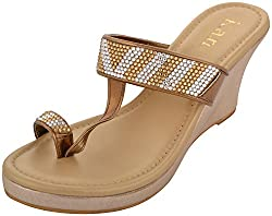 k.a.n Womens Gold Synthetic Kolhapuris Wedge- Size- 6 UK