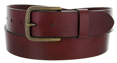 Burgundy Full Grain Genuine Work Jean Casual Leather Belt With Black Solid (36, Burgundy W Brass Finish Buckle)