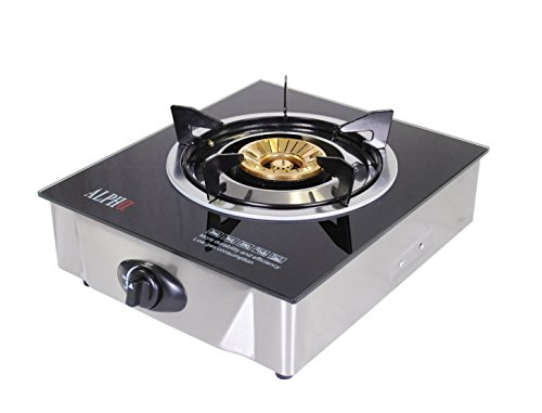 Alpha Portable Propane Gas Glass Top Stove Single Burner with Low Pressure Regulator For Tailgate Camping (For Gas Stove compare prices)