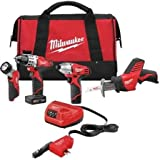 Milwaukee 2494-24 M12 Combo Kit 3/8 DRV DRL/IMP/HACKZ/ACDC Charger