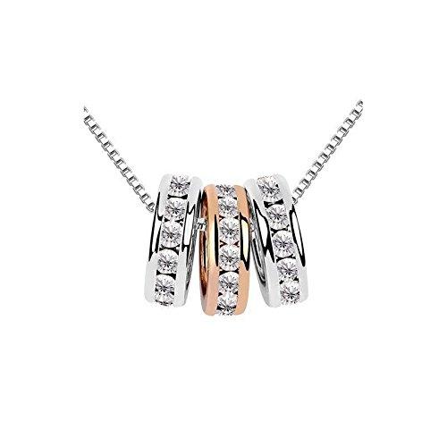 Yparah - Collana Yparah Trio anelli, con cristalli di Swarovski, donna