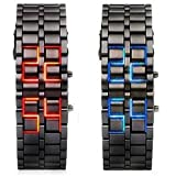 Lava Style Iron Samurai Stainless Steel Bracelet LED Watch RED / BLUE **2 PACK** BY Toys+(Tm)