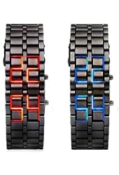Lava Style Iron Samurai Stainless Steel Bracelet LED Watch RED / BLUE **2 PACK**