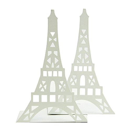 Cute Eiffel Tower Desk Holder Book Organizer Metal Decorative Bookend (White)