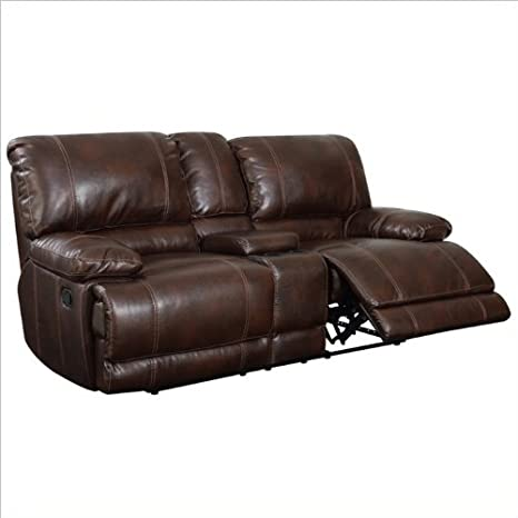 Global Furniture USA 1953 Reclining Loveseat in Brown Leather - With Console