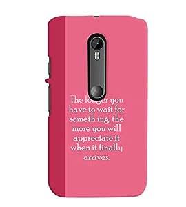 Fuson Premium Wait Is Fruitful Printed Hard Plastic Back Case Cover for Motorola Moto G (3rd Gen)