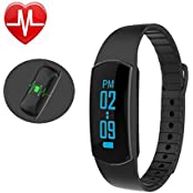 Pashion Fitness Tracker Waterproof Smart Wristbands Activity Pedometer Sleep Calorie Monitor Touch Screen Fitness...