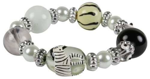 Black and White Hand-Painted Zebra Kids Stretch Bracelet