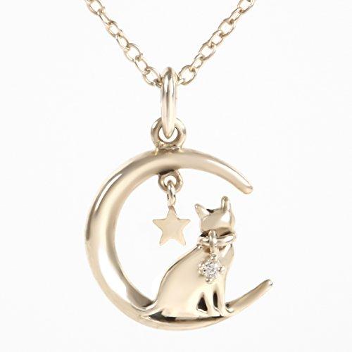 Libelux 星空の三日月に座る猫 シルバー925 ダイヤモンドネックレス レディースアクセサリ 宝石箱 お手入れ用クロス 収納巾着 プレゼント用ギフトバック5点セット (シルバー)