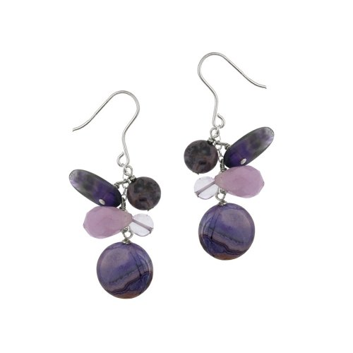 Sterling Silver Amethyst and Purple Crazy Lace Agate Drops French Wire Earrings: Jewelry