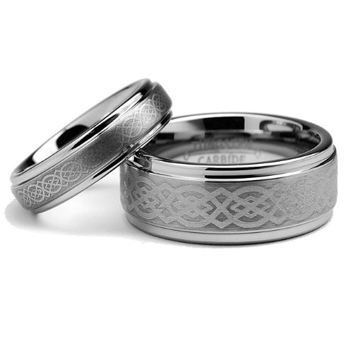 His & Hers Matching Set 5MM / 8MM Tungsten Carbide
