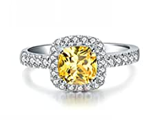 buy Siarola 18K White Gold Plated Cushion Cut Genuine Citrine Halo Band Engagement Ring R45C (6)