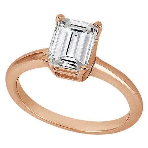 Allurez Solitaire Engagement Ring Setting for Emerald-Cut Diamond 18k Rose Gold - I