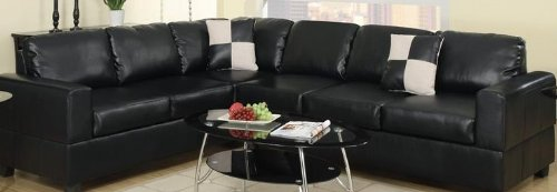 2 PC Black Faux Leather Reversible Hardwood Sectional Sofa by Poundex