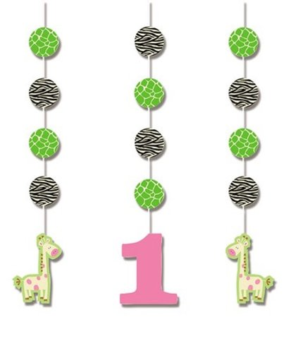 Creative Converting Wild at One Giraffe Hanging Cutout Party Decorations, 3-Count