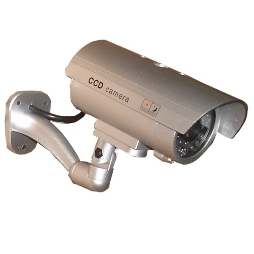 outdoor fake dummy security camera blinking light silver