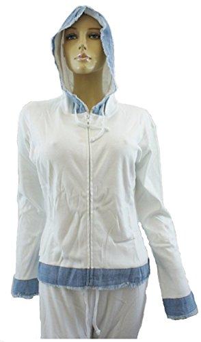 Donna, colore: bianco con dettagli in denim blu con cappuccio e pantaloni tuta White with Blue S / M