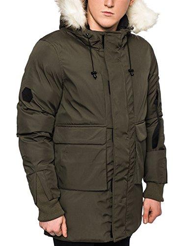 Bellfield Da Uomo Parka pelliccia-invernale imbottito con cappuccio, colore: kaki/nero Khaki Medium