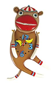 Allen Designs SOCK IT TO ME Sock Monkey Wall Clock