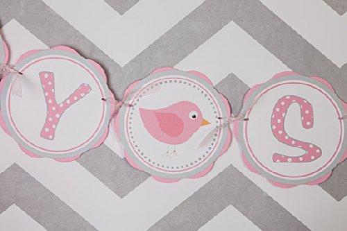 Bird Baby Shower Banner (Pink & Grey)