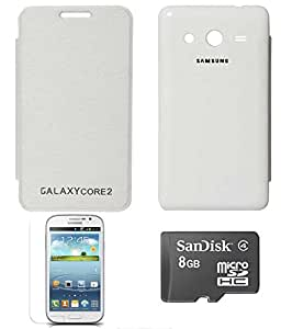 TBZ Premium Flip Cover Case -White for Samsung Galaxy Core 2 with Screen Guard and 8GB MicroSD
